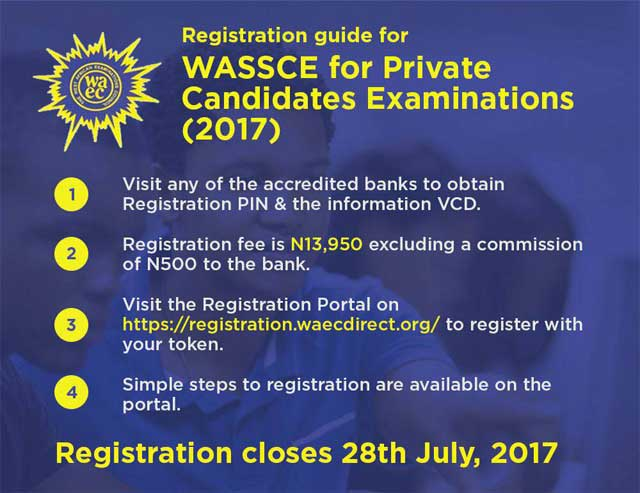 Registration guide for 2017  WASSCE for Private Candidates Examinations (GCE)