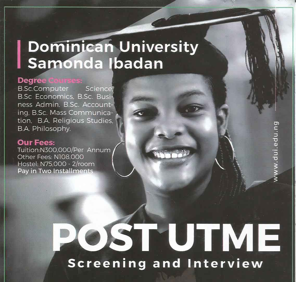 2019 Post UTME Screening and Interview – Dominican University Samonda Ibadan