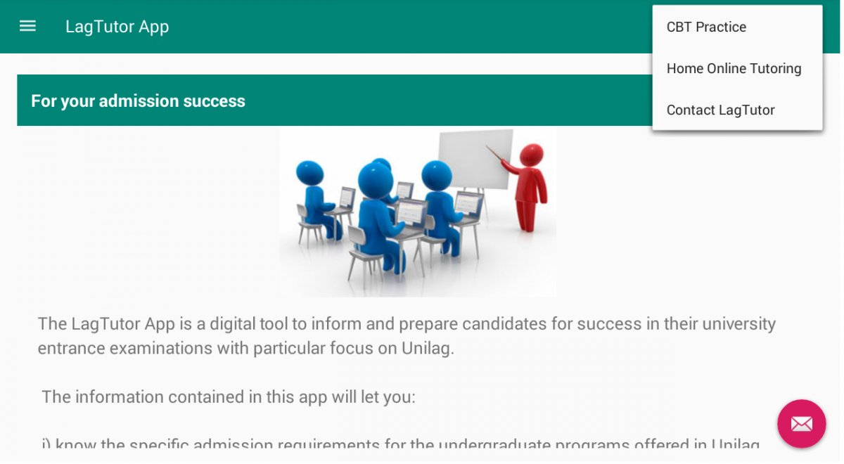 Android App for Unilag post UTME, Unilag MBA and SON aptitude test